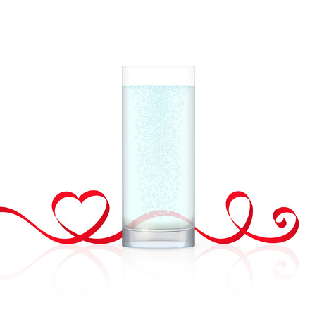 drinkable: Glass of water and red ribbon with heart-shaped curl, isolated on white background