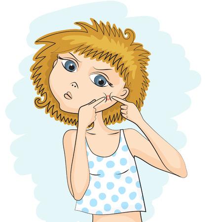 procedure: La ragazza sta schiacciando fuori dalle sue mani grande brufolo rosso sul suo viso. Problema pelle. Procedure igieniche