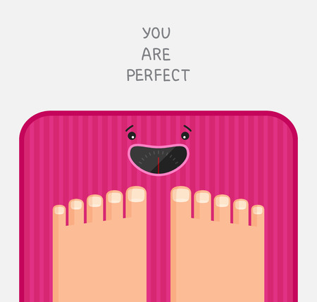 Feet are standing at pink bathroom scales with happy dial.