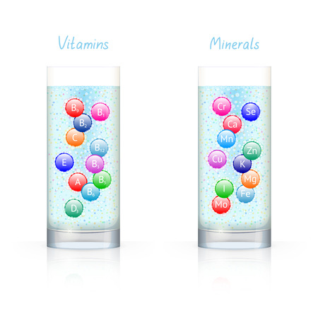 drinkable: Glass with vitamins and glass with minerals, with bubbles inside, on white background