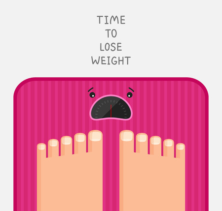 Feet are standing at pink bathroom scales with upset dial. Illustration