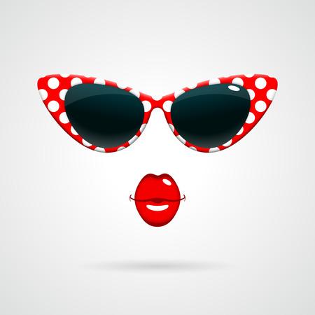 scarlet: Vintage red-and-white polka dots sunglasses Illustration