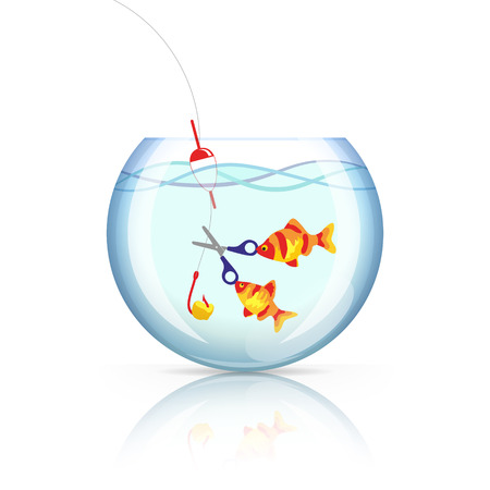 adroitness: Two smart goldfishes in aquarium is cutting fish hook with bait, on which someone want to catch them.