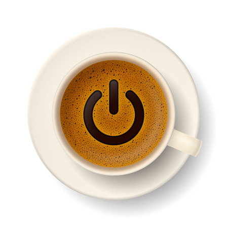 cheerfulness: Coffee cup with froth in from of power-up symbol. Energy and vivacity for active life.
