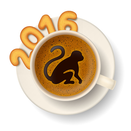 cheerfulness: Coffee cup with monkey as symbol of New Year 2016,cookies in shape of numerals, on white background Illustration