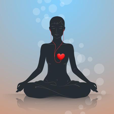 La donna è seduta in posizione del loto e meditando. Dark silhouette su sfondo blu-marrone. Ascolta il tuo cuore e vivere in armonia