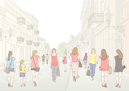 midday: City pedestrian street with people in sunny summer day. Stylized line drawing by hand