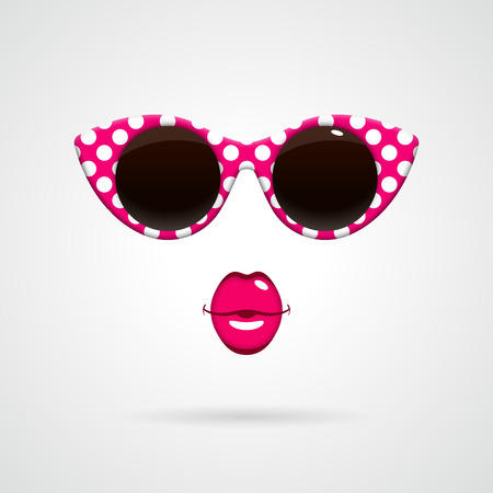 Vintage pink-and-white polka dots sunglasses, bright pink kissing lips. Fashion concept.