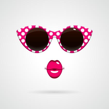빈티지 화이트 핑크 앤 도트 무늬 선글라스, 밝은 분홍색 키스 입술. 패션 개념.