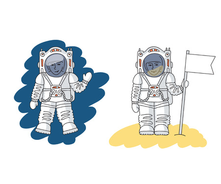 Astronaut in space is waving his hand and astronaut is standing on the surface of new planet with flag in his hands. Space travel concept