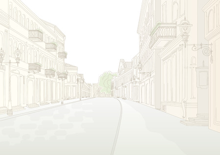 without people: City street without people in sunny summer day. Stylized line drawing by hand Illustration