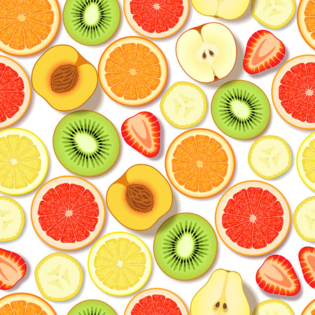 lobule: Seamless pattern with sliced fresh fruits and berries on white background