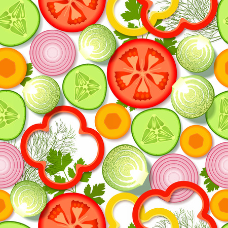 greens: Seamless pattern with sliced fresh vegetables and greens, on white background