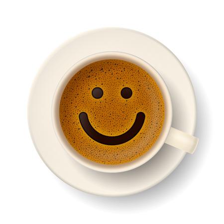 Filiżanka kawy z piana w postaci uśmiechniętej buźki. Dobry nastrój i żywotność do aktywnego dnia