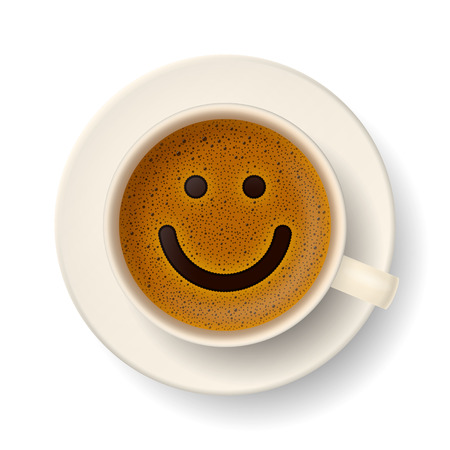 Coffee cup with froth in the form of smiley face. Good mood and vivacity for active day Vettoriali