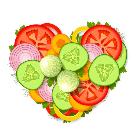 greens: Pile of sliced fresh vegetables and greens, stacked in heart form