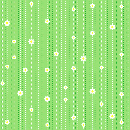 grass flowers: Seamless pattern with camomile on green background Illustration