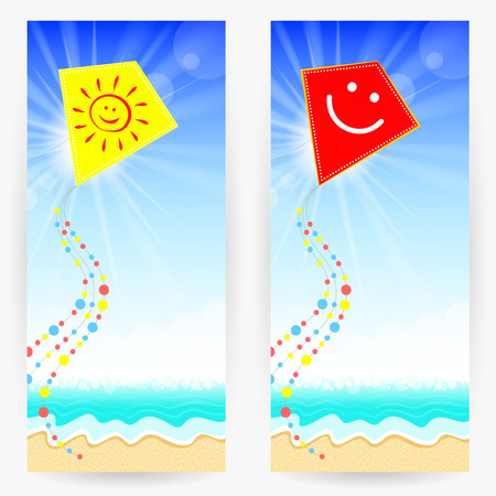 sandy: Two summer backgrounds with sandy beach, blue sea, bright sky and  kites. Yellow kite with sunny face and red kite with smiling face