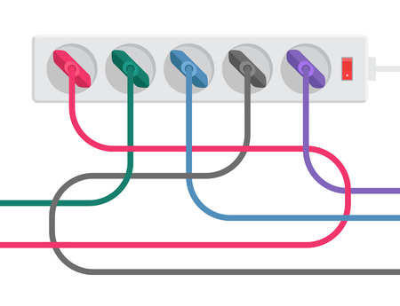 Gray power strip and multicolored tangled cables with plugs. Time to bring order. A stylized drawing