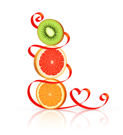 lobule: Slices of orange, grapefruit and kiwi are standing one on another, red ribbon with heart-shaped curl around Illustration