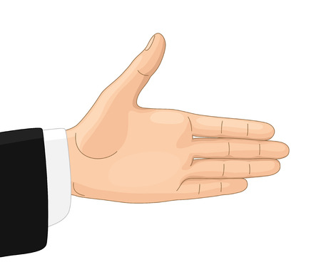 outstretched hand: Welcoming gesture. Outstretched hand for greeting and handshake
