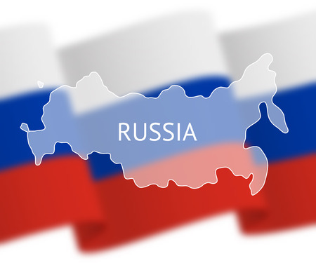 grandeur: Stylized outline map of Russia on national flag background. Inscription RUSSIA over the image