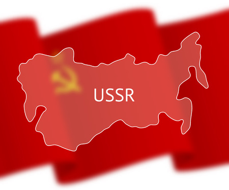 soviet flag: Stylized outline map of Union of Soviet Socialist Republics on national flag background. Inscription USSR over the image
