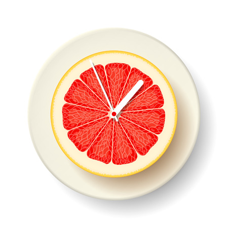 hands  hour: Half of fresh juicy grapefruit with the hour and minute hands, on white plate. Time for healthy and wholesome food. Healthy lifestyle concept