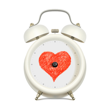 hour hand: White alarm clock with red heart in clock face center, without minute hand and without hour hand, on light background. Love and time concept