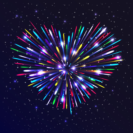 lustre: Heart-shaped firework with multicolored lights. The glow and sparkle around. Bright love concept