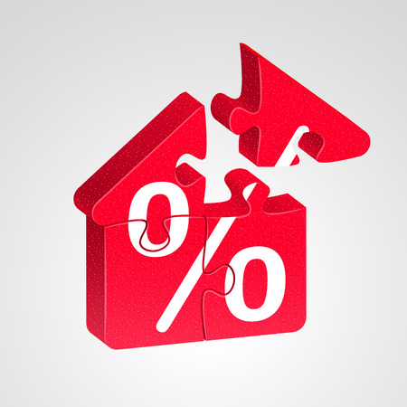 advantageous: House icon combined from red puzzles with white percent sign, on light background. Advantageous house building concept Illustration