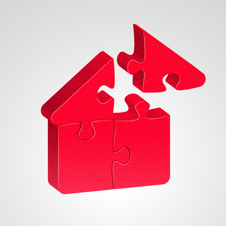 hypothec: House icon combined from red puzzles, on light background. House building concept