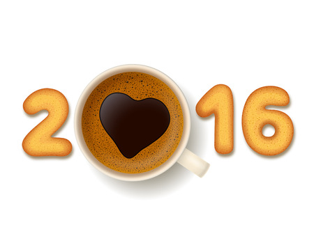cheerfulness: Coffee cup with heart-shaped froth,cookies in shape of numerals, on white background. New Year 2016