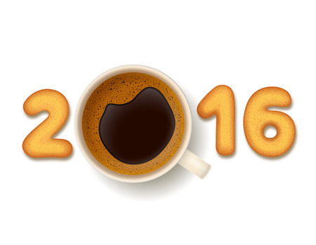 froth: Coffee cup with froth,cookies in shape of numerals, on white background. New Year 2016