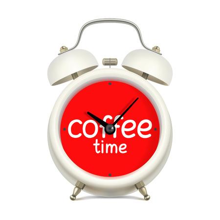 """almuerzo: Blanco reloj de alarma con la cara roja del reloj, con la inscripción """"la hora del café"""", sin figuras, sobre fondo blanco. Romper mientras que el concepto de trabajo"""