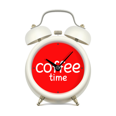 White alarm clock with red clock face, with inscription coffee time, without figures, on white background. Break while working concept Illustration