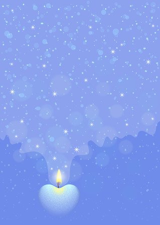 blue flame: Blue background with burning heart-shaped candle. Flame of love concept