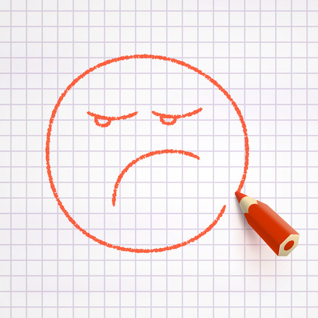 discontented: Sad face drawn with red pencil on checked paper. Sad mood concept Illustration