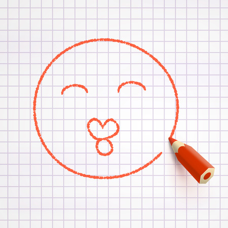 enamored: Face with kiss drawn with red pencil on checked paper. Enamored mood concept