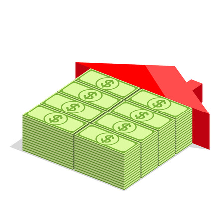 hypothec: House icon with blocks from bundles of dollars and with red roof. Money is the basic building material. Building concept
