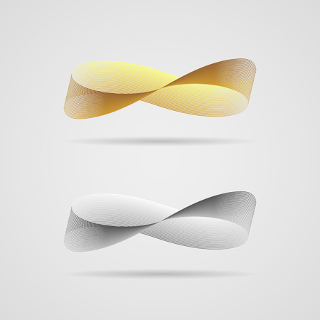 mobius strip: Ribbon, consisting of tiny lines, in the form of infinity sign, in gold and silver colors. Infinity concept