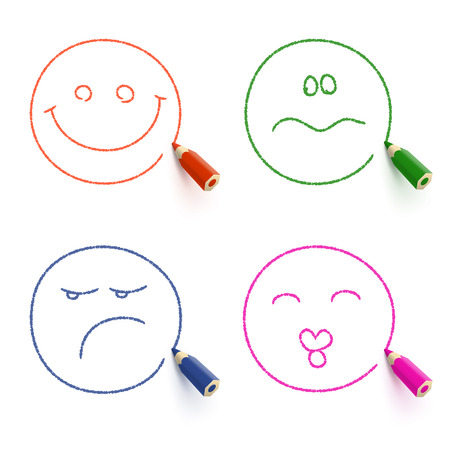 wrathful: Smiley face,  kissing face, sad face and disconcerted face drawn with colored pencil on white background. Different emotion concept