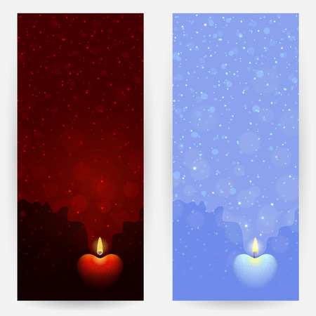 blue flame: Set of red and blue backgrounds with burning heart-shaped candles. Flame of love concept Illustration