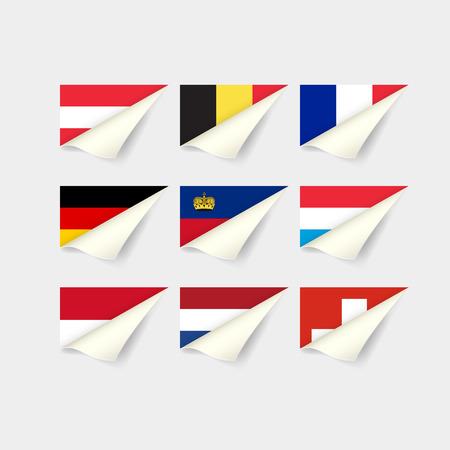 ヨーロッパ諸国の国旗。西ヨーロッパ  イラスト・ベクター素材