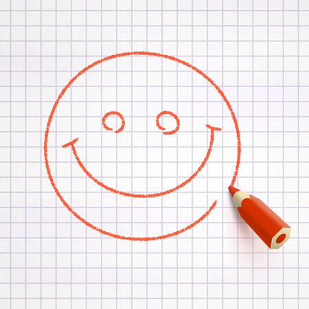 red pencil: Smiling face drawn with red pencil on checked paper. Excellent mood concept Illustration