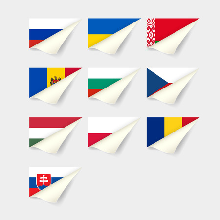 Flags of European countries. Eastern Europe Illustration