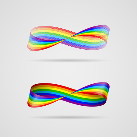 mobius strip: Ribbon, consisting of tiny lines, in the form of infinity sign, in rainbow colors. Infinity concept