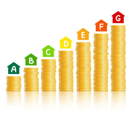 eficiencia energetica: Iconos de la casa con el marcado de la eficiencia energética, pilas de monedas de oro que demuestran el nivel de gasto de acuerdo con el tipo elegido de la eficiencia energética. El ahorro de energía y el concepto de consumo de energía