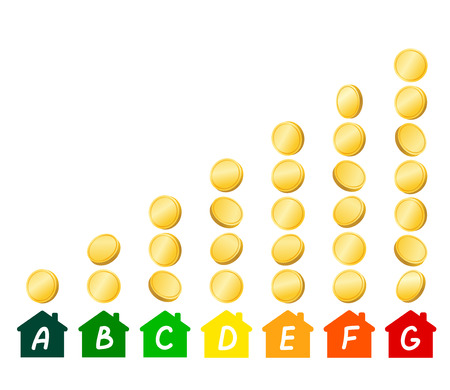 electricity prices: House icons with energy efficiency marking, stacks of gold coins demonstrating level of expense in accordance with chosen type of energy efficiency. Energy saving and energy consumption concept