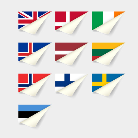 Flags of European countries. Northern Europe Иллюстрация